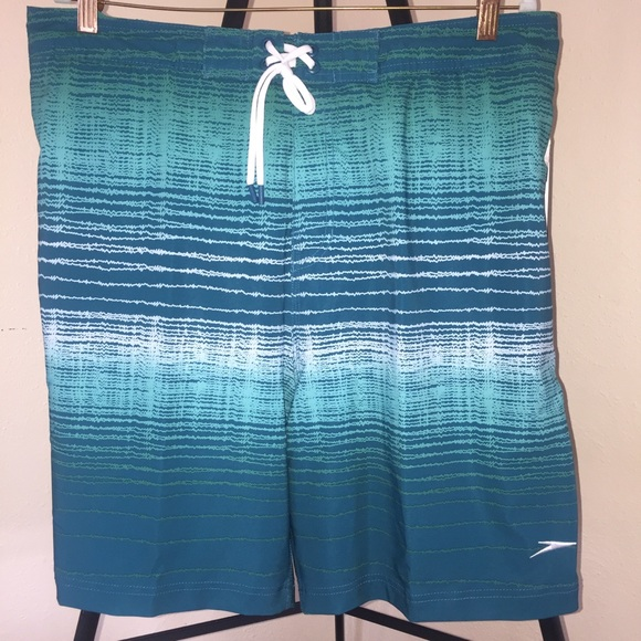 Speedo Other - NWT Speedo Teal Print Columbia Swim Trunks Sz XL